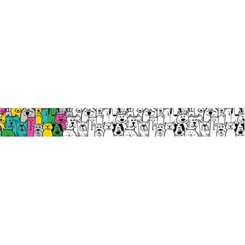 Sticker autocollant noir et blanc chats et chiens en groupe