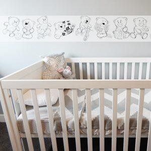 Sticker adhésif à colorier frise Oursons mis en ambiance dans une chambre pour bébé