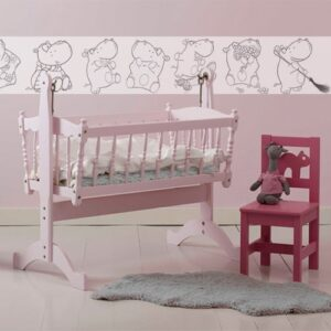 Sticker autocollant frise hippopotame à colorier mis en ambiance dans une chambre pour bébé