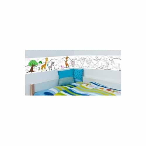 Stickers autocollants à colorier Frise adhésive mis en ambiance dans une chambre d'enfant