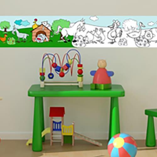stickers Frise Animaux de la Ferme enfant collé au mur d'une chambre