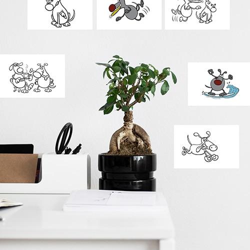 Stickers adhésifs à colorier Chiens