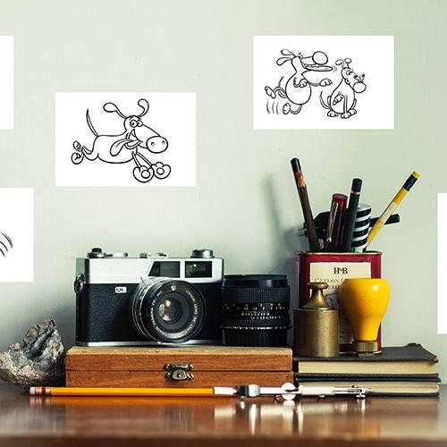 Stickers adhésifs à colorier Chiens rigolos