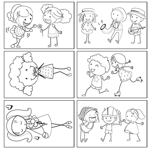 Stickers autocollants à colorier Cartes d'enfants