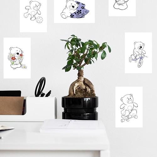 Stickers autocollants Oursons à colorier mis en ambiance dans une pièce à vivre