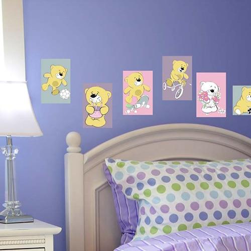 Stickers autocollants Oursons à colorier mis en ambiance dans une chambre à coucher