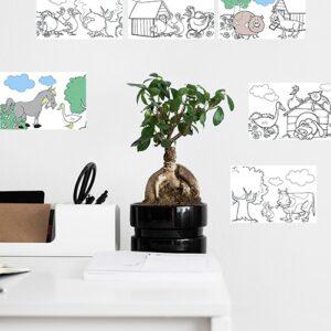Stickers autocollants animaux de la ferme mis en ambiance dans une pièce à vivre