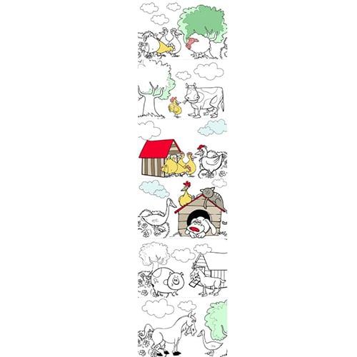 Stickers à colorier représentant les animaux de la ferme mis en couleurs