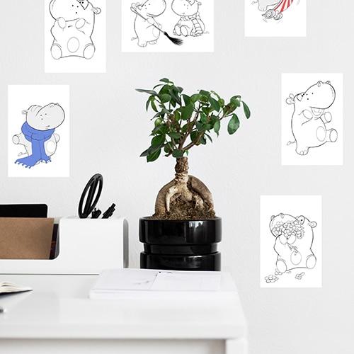 Stickers adhésifs Hippopotames à colorier mis en ambiance dans une pièce à vivre