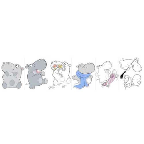 Stickers adhésifs Hippopotame à colorier