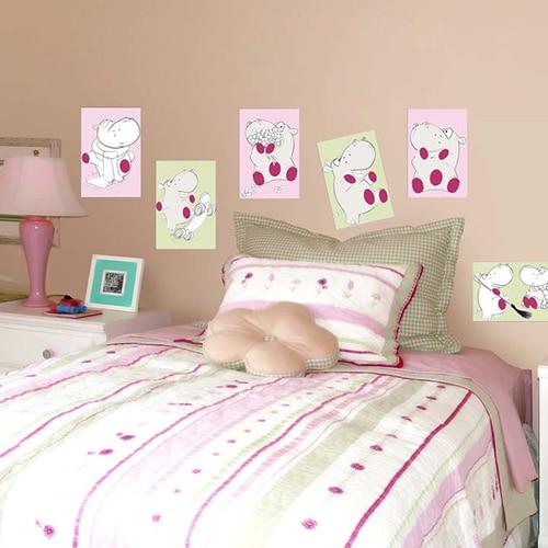 Stickers adhésifs hippopotames dans une chambre à coucher