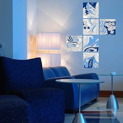 Stickers muraux à colorier Fleurs Indiennes mis en ambiance dans un salon bleu