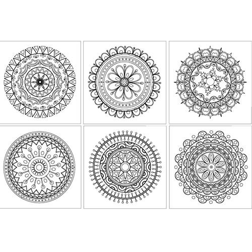 Stickers Mandala colorié avec différents motifs