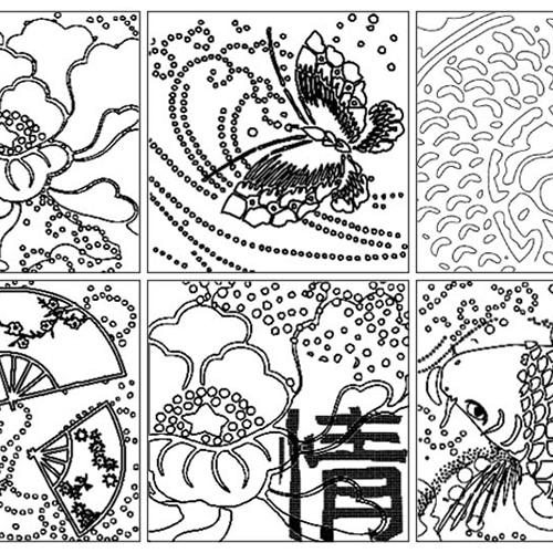 Stickers à colorier sur le thème de l'Asie incluant des éventails, une carpe ainsi qu'un papillon.