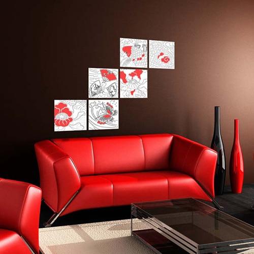 Stickers autocollant Asie Zen dans un salon rouge et noir