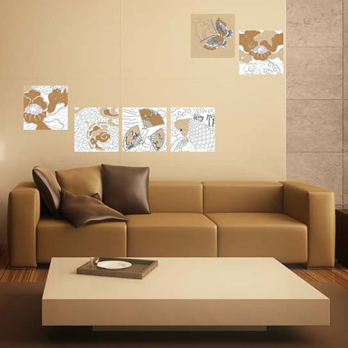 Stickers autocollant Asie Zen teinte brune