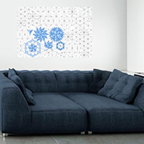 Sticker adhésif murale Origami bleu mis en ambiance dans un salon