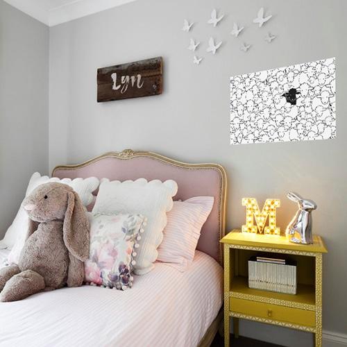 Stickers adhésifs géant moutons à colorier dans une chambre à coucher