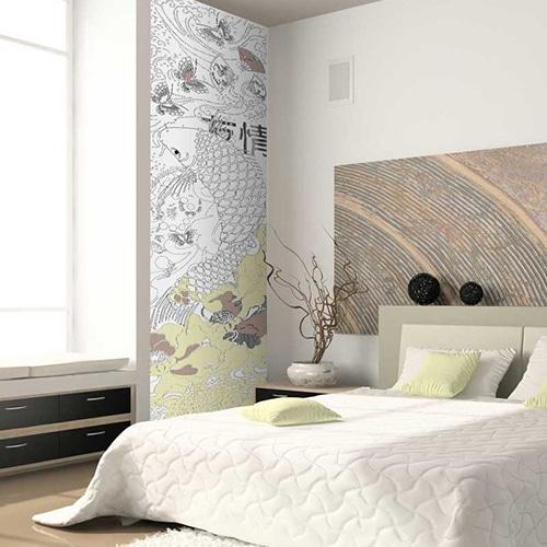 sticker mural géant à colorier pour adultes mis en ambiance sur le mur blanc d'une chambre