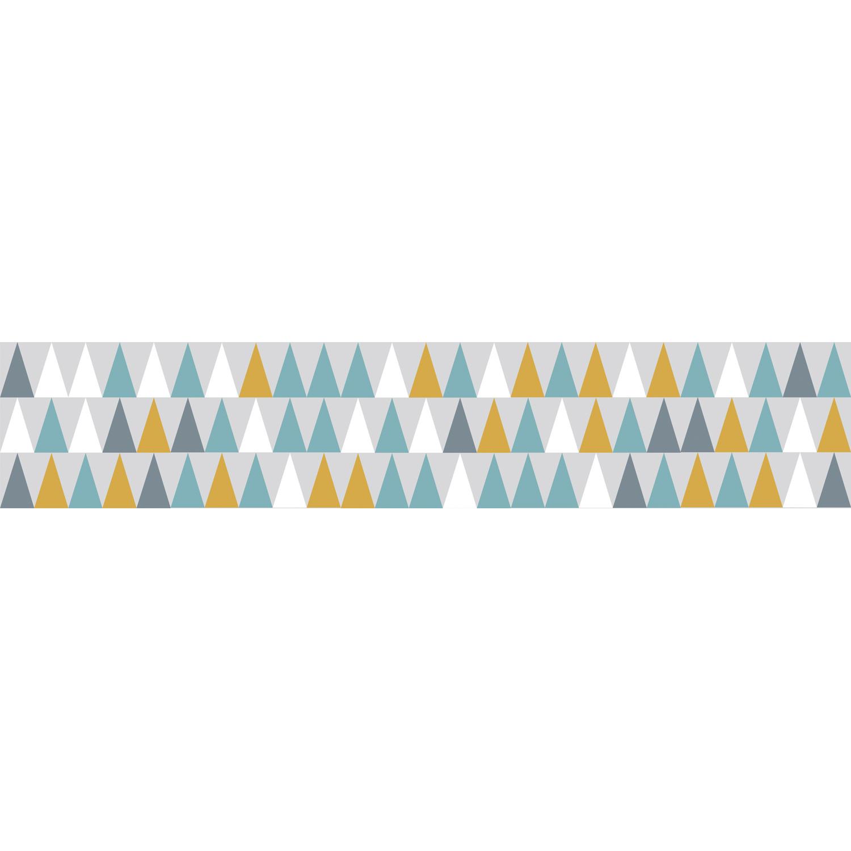 Sticker tendance bleu vert et orange pour contremarches d'escalier moderne en bois