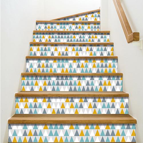 Sticker autocollant tendance bleu vert et orange pour contremarches d'escalier moderne