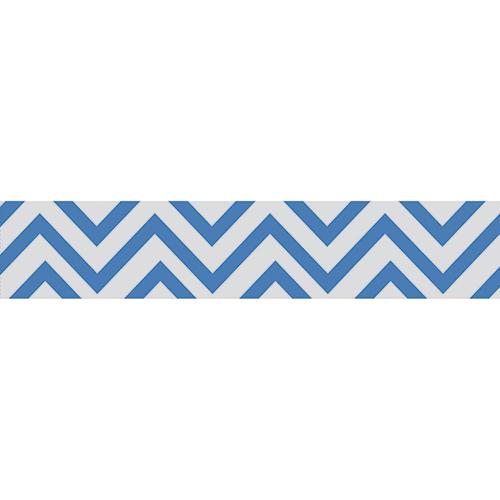 Sticker déco bleu et blanc pour contremarches d'escalier moderne