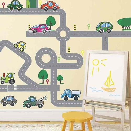 Sticker adhésif Circuits voitures dans chambre d'enfant
