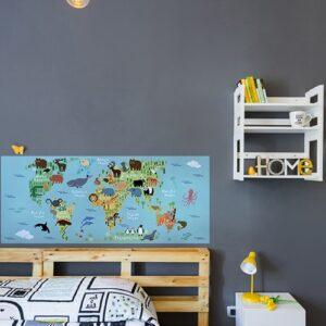 Sticker adhésif Planisphère chambre enfant