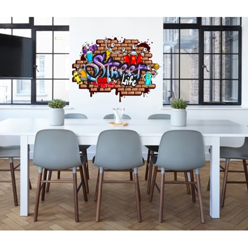 sticker mural street art mis en ambiance dans une salle à manger