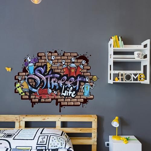 autocollant mural street art mis en ambiance sur mur gris foncé