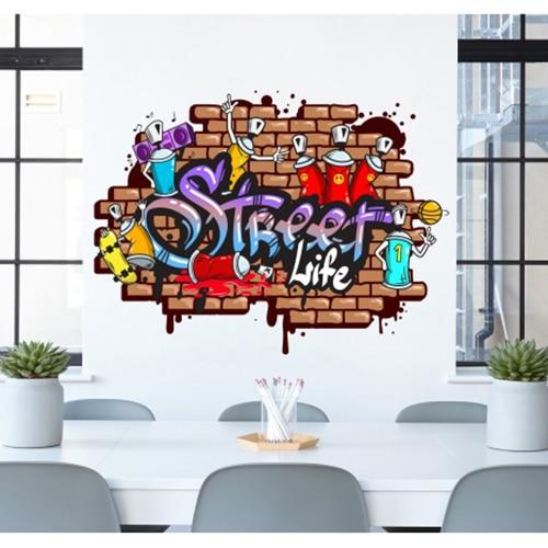Adhésif mural street art mis en ambiance dans une chambre d'enfants