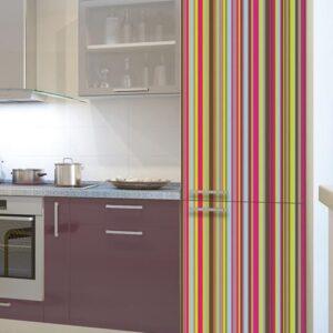 Stickers pour frigo adhésif rayures multicouleurs