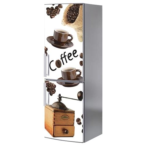 Sticker adhésif pour frigo Coffee grand classique et gris
