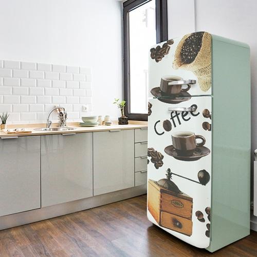Sticker adhésif pour frigo vintage vert pâle ou blanc