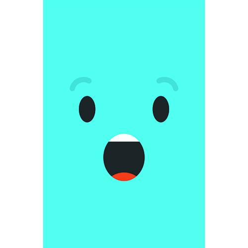 Adhésif pour frigo Smiley Surpris Bleu