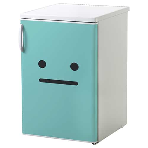 Stickers pour petit frigo smiley bouche bée bleu