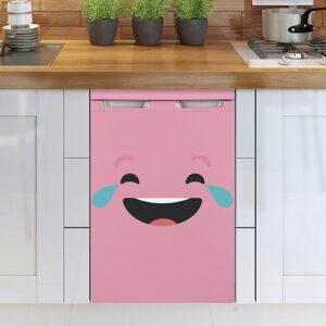 Stickers rose pour lave-vaisselle smiley qui pleure de rire