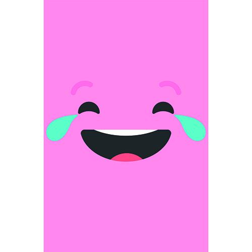 Stickers rose avec smiley qui pleure de rire
