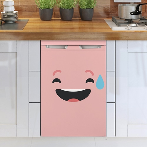 Sticker pour frigo Smiley Sourire Géné Rose à coller