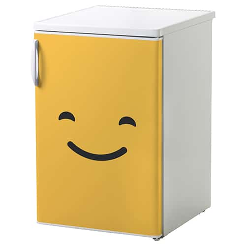 Sticker adhésif décoration pour frigo smiley qui sourit orange
