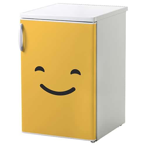 Sticker adhésif smiley malin bleu pour petit frigo