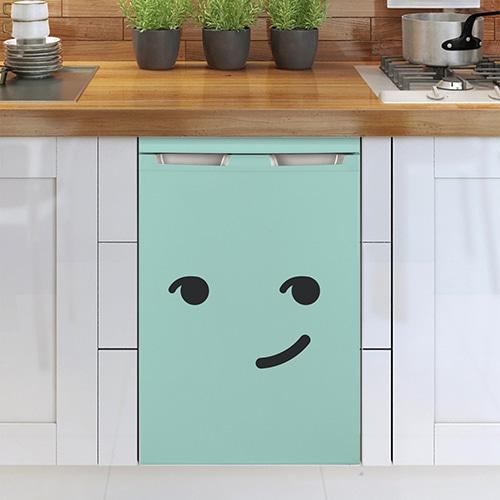 Stickers malin bleu décoration pour lave-vaisselle