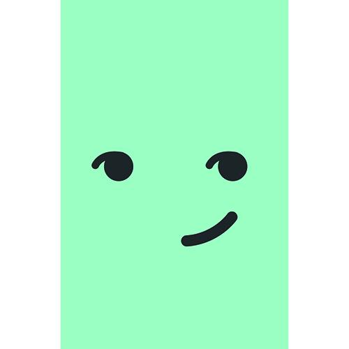 Stickers adhésifs smiley malin bleu pour petit frigo
