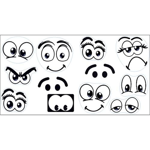 Mini stickers adhésifs yeux de BD noir et blanc