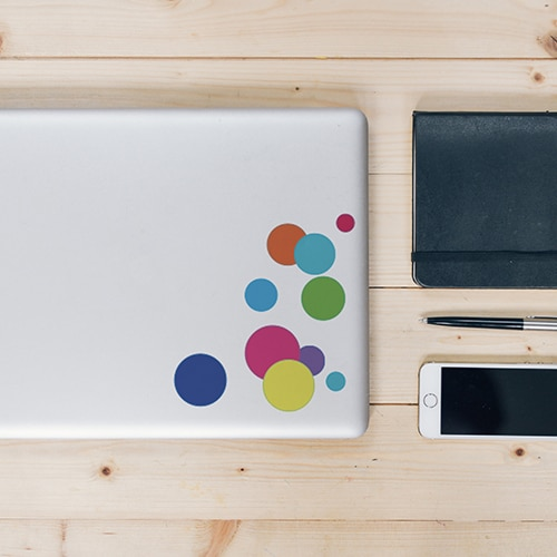 Stickers adhésifs bulles de couleurs pour ordinateur