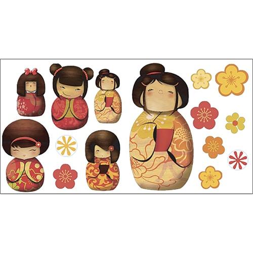 Stickers poupées kokeshi adhésifs