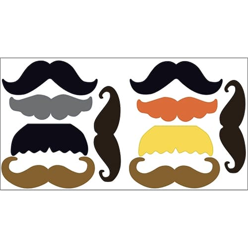 Stickers moustaches de couleurs noir grise et orange différentes prête à coller