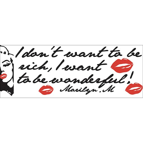 Stickers planche Marilyn Monroe - I don't want to be rich, I want to be wonderful !