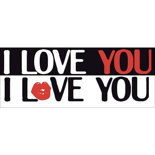 Stickers autocollants I love You rouge noir et blanc
