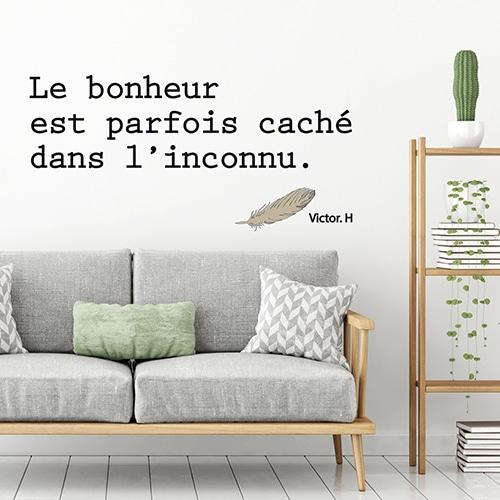 Sticker d'une citation sur le bonheur dans un salon